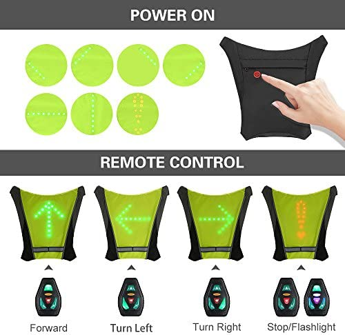 Lixada Gilet de Cyclisme USB Rechargeable Réfléchissant Sac à Dos avec LED Clignotant Télécommande en Plein Air Sport Sac de Sécurité Gear pour Cyclisme Courir Marche Jogging