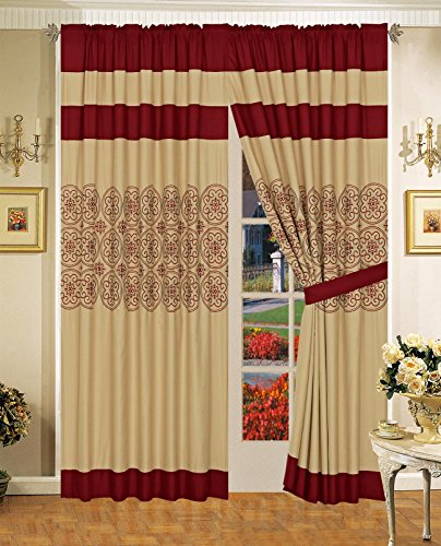 All American Collection New 6pc Circle Reversible Embroidered Bedspread/Quilt Set (Curtain Only, Burgundy)