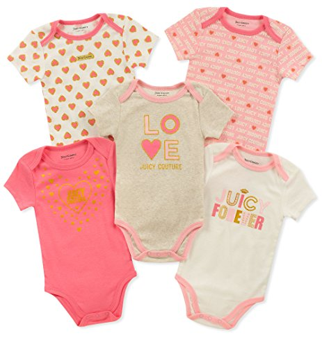 Juicy Couture Baby Girls 5 Pieces Pack Bodysuits, Rose/Oatmeal, ()