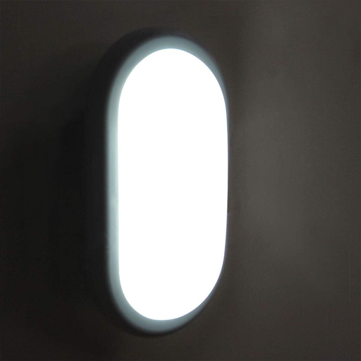VARICART 18W LED Mampara Pared Montaje Enrasado Superficie L/ámpara Redonda Seguridad IP65 Hidr/ófuga Interior Exterior Ba/ño Techo Hall Escalera Garaje Porche 3000K Blanco C/álido 1800lm 150W Equiv