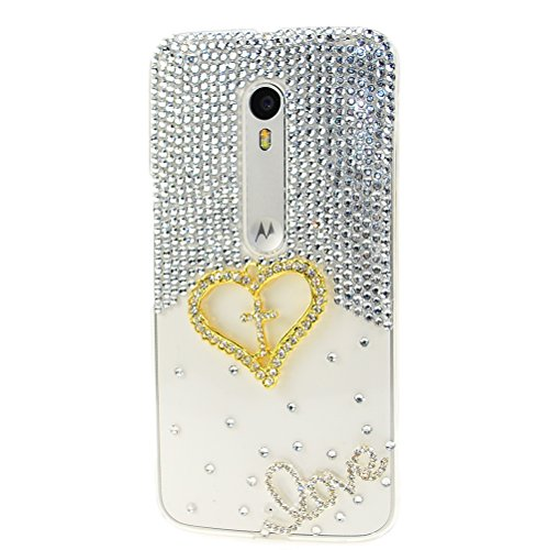 Moto Droid Maxx 2 (Verizon) Case, Sense-TE Luxurious Crystal 3D Handmade Sparkle Diamond Rhinestone Clear Cover with Retro