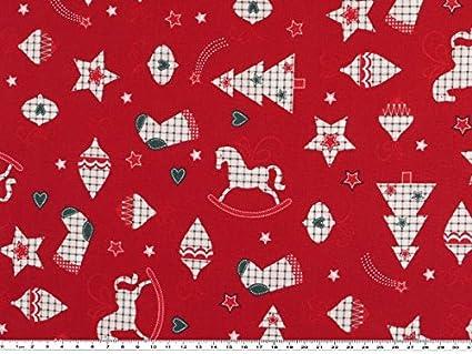 Tela de Navidad, con motivos navideños, algodón, cereza, 140 cm
