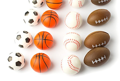 """Set of 24 Sports 2.5"""" Stress Balls - Includes Soccer Ball, Basketball, Football, Baseball Squeeze Balls For Stress Relief, Party Favors, Ball Games and Prizes, Stocking Stuffers - Bulk 2 Dozen Balls"""