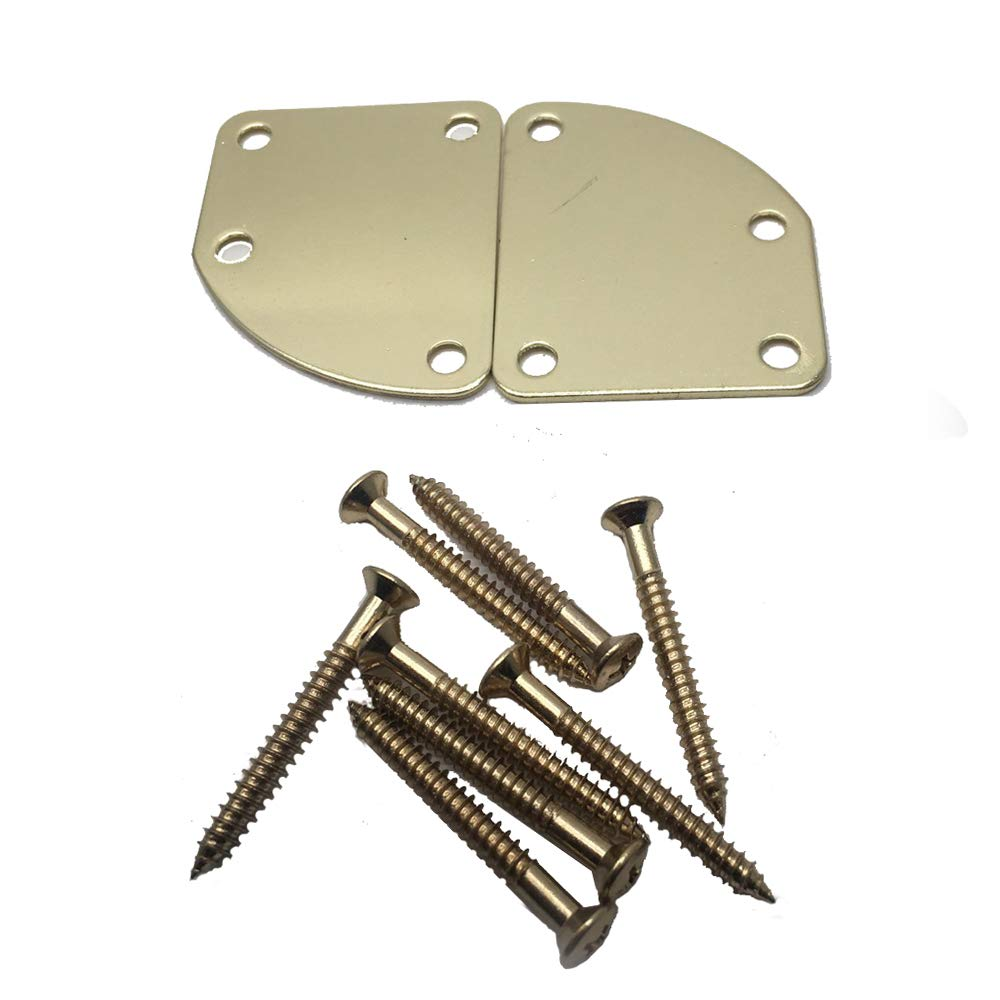2Pcs Golden 4 Holes Curved Neckplate Electric Guitar Neck Plate for Fender Strat Stratocaster Tele Telecaster with 8 Fixed Screws