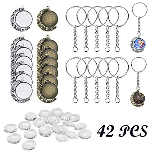 18mm Pendant Trays Kit, 12 PCS Moon Rotation Double Side Round Blank Bezel Pendant Trays, 20 PCS Glass Dome Tiles Clear Cameo and 10 PCS Pendant Buckle for Jewelry Making