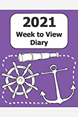 """2021 Weekly Diary: Large Print (Mariner - Purple Cover) - 8"""" x 10"""" with Months, Important Dates & Week to View Planner - Simple layout. Large Print. Easy to use for visually impaired Paperback"""