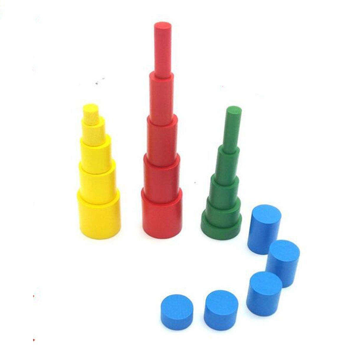 スポーツFitness Montessori 4色木製円柱初期学習教育ラダーブロックFamily Pack for Kids   B07CZHGHNW