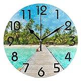 Dozili 3D Beautiful Tropical Maldives Island Beach Palm Tree Print Round Wall Clock Arabic Numerals Design Non Ticking Wall Clock Large for Bedrooms,Living Room,Bathroom