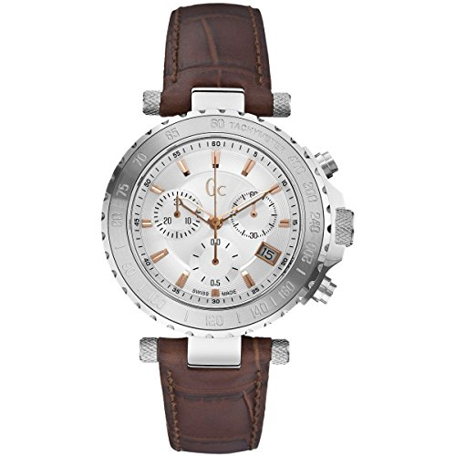 Guess-Collection-GC-Mens-Diver-Chronograph-Brown-Crocodile-Leather-Swiss-Made-Watch-X58005G1S