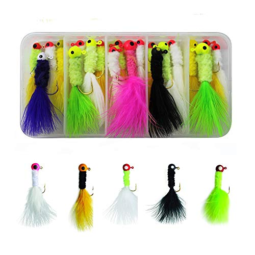 Redgirl 24pcs/Box 1/16oz Mixed Colors Crappie Jigs Lures Set Fishing Lead Head Hook with Feather Marabou Chenille
