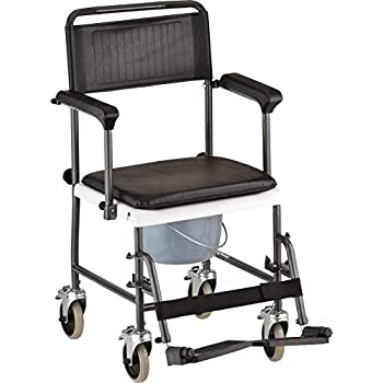 NOVA Medical Products Drop Arm Transport Chair Commode, Hammertone