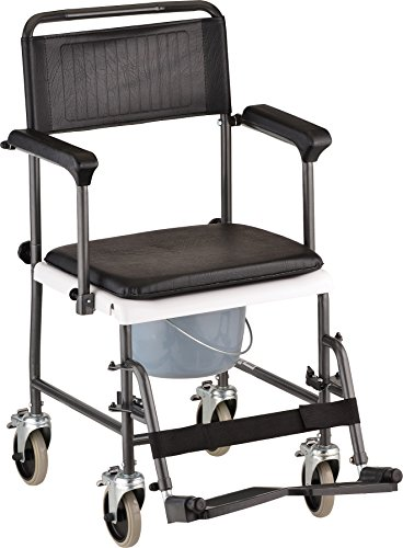 NOVA Medical Products Drop Arm Transport Chair Commode, Hammertone by NOVA Medical Products