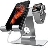 Universal 2 in 1 Cell Phone Tablet Stand,ZVE Aluminium Apple Iwatch Charging Stands Dock Cradle for iWatch (38mm 42mm),iPhone 7 8 X Plus,ipad (Up to 12.9 inch) Space grey