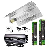 VIVOSUN Hydroponic 400 Watt HPS MH Grow Light Bulb Digital Dimmable Ballast Wing Reflector Set