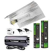 VIVOSUN Hydroponic 400 Watt HPS MH Grow Light Bulb Digital Dimmable Ballast Wing Reflector Set