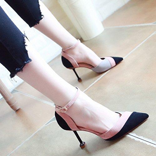 ZHUDJ Rechtschreibung Weibliche Schuhe Im Frühjahr Mit High Heels Und High Heels black
