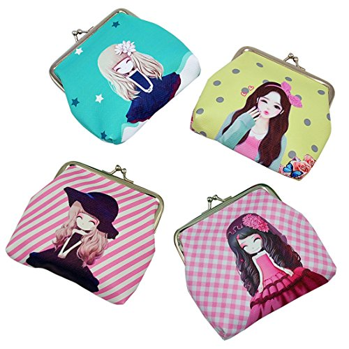 Oyachic 4 Packs Coin Purse Card Pouch Cute Girl Pattern Clasp Closure Wallet Christmas Birthday Gift 4.7