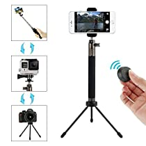 Selfie Stick Tripod with Bluetooth Remote Extendable Monopod Aluminum Alloy 360 Rotation Selfie Stick for Gopro/Camera/iPhone 8/8 Plus/X/7/7 Plus/Galaxy Note 8/S8/S8 Plus