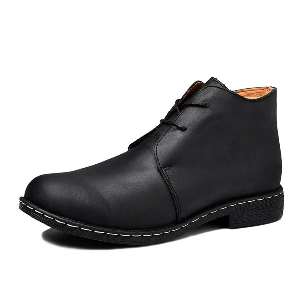 ZHRUI Mens Fell gefüttert echtes Leder Stiefel weiche Sohle dauerhafte atmungsaktive Stiefel (Farbe   Schwarz, Größe   EU 46)