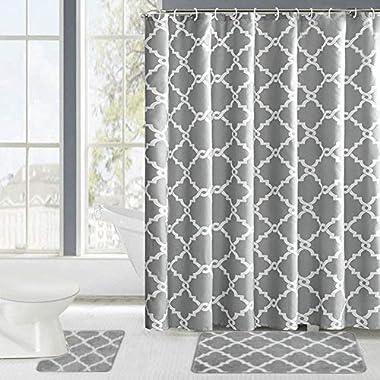 Fashion Dream Shower Curtains Set & Flannel Foam Bathroom Mat Set Combination 3 Pcs Set - Geometric Patterned Shower Curtain Gray and White 18 x 30 Bath Mat, 18 x 18 Toilet Mat & Shower Curtain