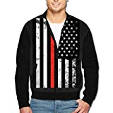 988Iron Distressed Fire Fighter Thin Red Line Flag Men's Casual Sport Zip Outerwear Jacket