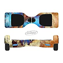 The Bright Blue Butterfly on Grunge Gold Surface Full-Body Wrap Skin Kit for the iiRov HoverBoards and other Scooter (HOVERBOARD NOT INCLUDED)