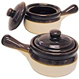 Traditional Lidded French Onion Soup Brown Ceramic Crock Set/2 with Handles