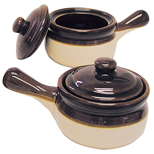 Traditional Lidded French Onion Soup Brown Ceramic Crock Set/2 with Handles 2 French Onion Soup Bowls