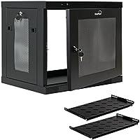 NavePoint 9U Wall Mount Rack Enclosure Server Cabinet 16.5 Deep, Switch-Depth Perforated Door Lock W/Shelf
