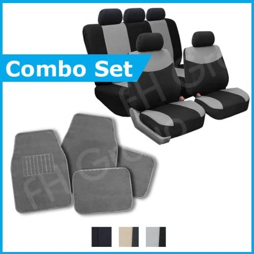 FH GROUP FH-FB056115 + C14403: Grey Modern Flat Cloth Seat Covers and Grey Carpet Floor Mats