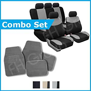 FH Group Combo Set Cloth Seat Covers W. 5 Headrests and Carpet Floor Mats Gray & Black