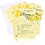 Sparkle and Bash Baby Shower Invitations with Envelopes, Mommy to Bee (50 Pack)