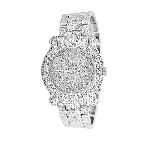 Mens Super Iced Out Hip Hop Ultra Bling King Roman Dial Fashion Designer Techno Pave White Gold Plated Studded Metal Band - Master Watches Techno