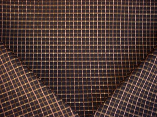 258H3 - Jet Black / Gold / Bronze Embroidered Plaid Check Designer Upholstery Drapery Fabric - By the ()