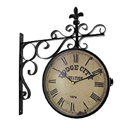 Things2Die4 Double Sided Dodge City Station Hanging Wall Clock