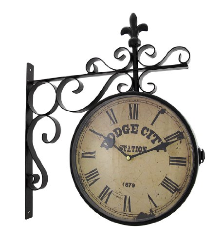 Retro Mod Metal Wall Clock (Double Sided Dodge City Station Hanging Wall Clock)