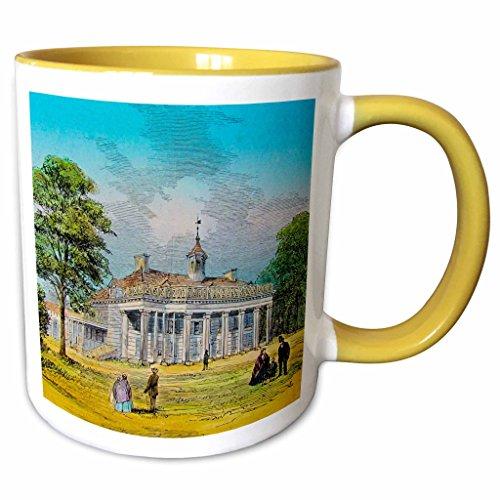 3dRose Scenes from the Past Magic Lantern - George Washingtons Mount Vernon Virginia Home Circa 1890 Vintage - 11oz Two-Tone Yellow Mug - Mount Outlets Vernon
