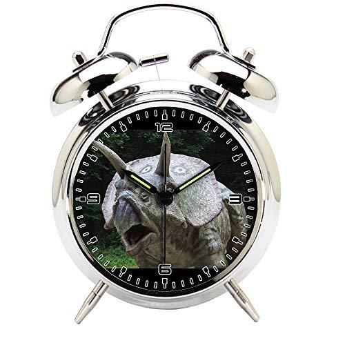 Children's Room Silver Dinosaur Silent Alarm Clock Twin Bell Mute Alarm Clock Quartz Analog Retro Bedside and Desk Clock with Nightlight-206.312_Dinosaur, Park, Prehistoric Times, Animal, Predator by girlsight