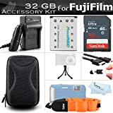 32GB Accessories Kit For Fujifilm FinePix XP70, XP80, XP90, XP120 Waterproof Digital Camera Includes 32GB High Speed SD Memory Card + Replacement NP-45A, NP-45s Battery + Charger + HDMI Cable + Case +
