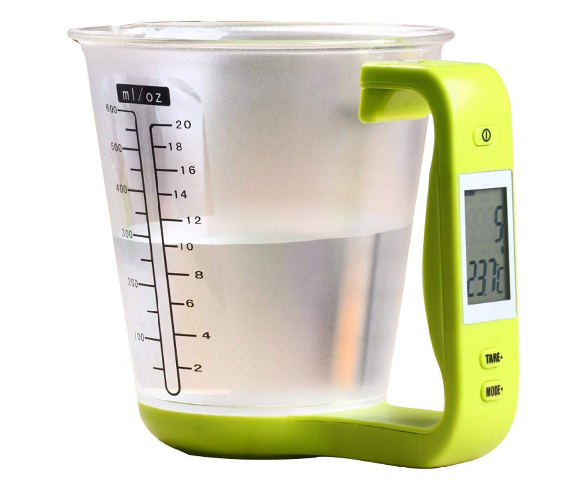KT THERMO Food Scale Digital Kitchen Multi-Function Measuring Cup Scale 1kg/600ml with LCD Display and Built In Thermometer Tare Function Weighing and Measuring Dry Liquid Weight Baking Cooking, Green