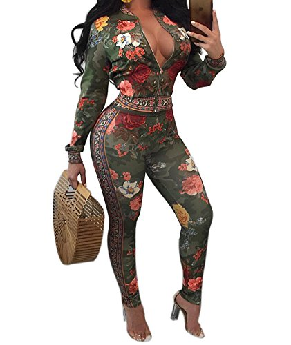 IyMoo Women's Floral Suits Long Sleeve Blazers with Long Pants Suiting Blazers Jacket Uniform Green Small