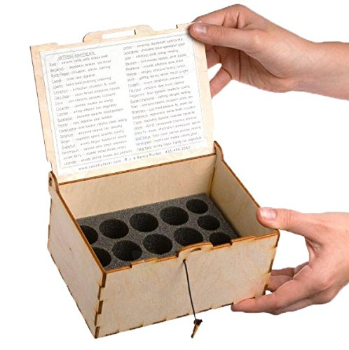 Application Chart - Urban Forest Essential Oil Small Wooden Box Storage - Secure, Organized Storage for Easy Access To Your Bottles - Travel Size - Holds 16 Vials Each