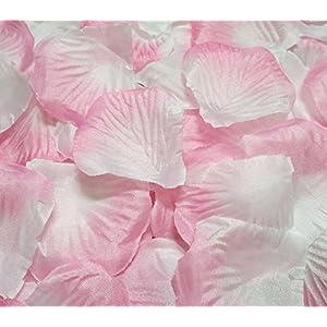 Ewandastore 1000 Pcs Fabric Silk Artificial Flower Rose Petals Wedding Favor Bridal Party Vase Decoration Table Confetti(Pink White) 2