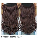 """Secret Halo Hair Extensions Flip in Curly Wavy Hair Extension Synthetic Women Hairpieces 20"""" (Copper Brown #33J)"""