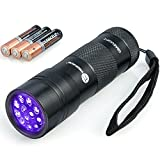 TaoTronics UV Flashlight Blacklight, 12 Ultraviolet Led Flashlight with Free AAA Duracell Batteries, Pets Urine and Stains Detector