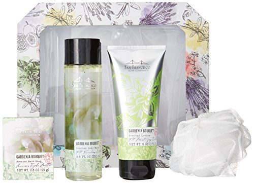 San Francisco Soap Company 5 Piece Gift Kit, Gardenia Bouquet ()