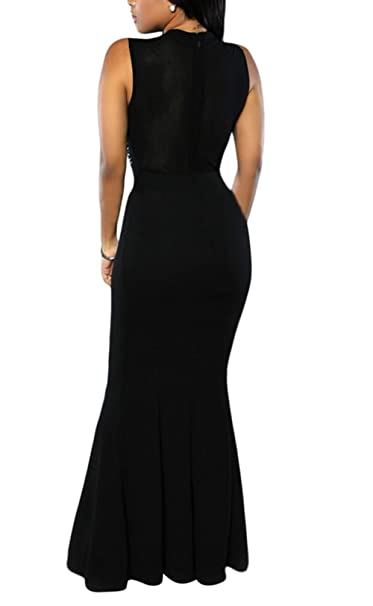 Women's Long Fitted Beading Sleeveless Mermaid Evening Gown Dress
