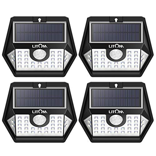 LITOM Solar Lights Outdoor Super Bright Water Resistant Motion Sensor Light 3 Lighting Modes, 270