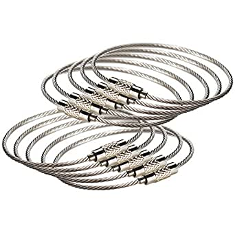 Ancicraft Keyrings Cable Keychains Stainless Steel Wire Rings Loop Heavy Duty Key Holder 10PCS (Cable keyrings)