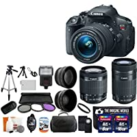Canon EOS Rebel T5i 18.0 MP CMOS Digital Camera SLR Kit With Canon EF-S 18-55mm IS STM + Canon 55-250mm IS STM Lens + Wide-Angle Lens + Telephoto Lens + 8GB and 16GB Card + Card Reader + Case + Battery + Flash + Tripod + Remote + 58mm Filter Kit - 24GB Deluxe Accessories Bundle Overview Review Image